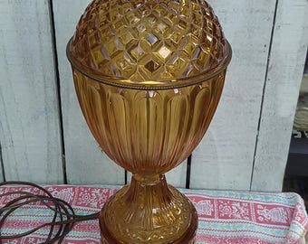 Vintage Golden Amber Yellow Large Cut Glass Lamp