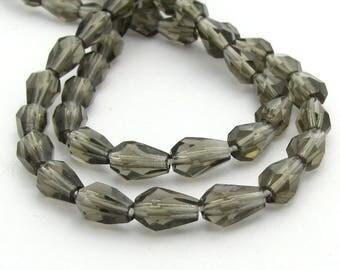 Dark Grey 5x7mm Drop Czech Glass Fire Polished Beads 20pc #451
