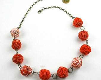 Upcycled jewellery. Recycled electric cables jewelry. Recycled orange necklace SHANGHAI