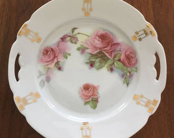 Antique Porcelain Serving Plate with Pink Roses and Gold Design Schwarzenhammer Tea Party Cookie Plate