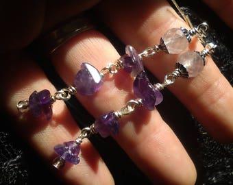 Long Amethyst Earrings - Long wire-wrapped Earrings - Amethyst Earrings - Purple Earrings - Gemstone Earrings