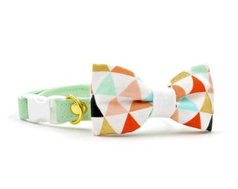 Carrie Cat Collar + Bow Tie Set with Breakaway Safety Buckle - Mint Green and Geometric - Kitten Size Available