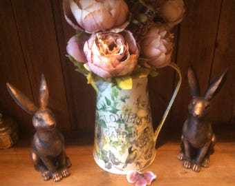 Galvanised metal pitcher jug, decorative flower vase handfinished decoupage style shabby chic  home decor