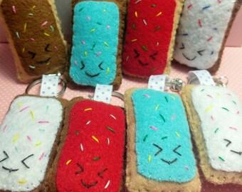 Kawaii Toaster Pastry Charm - Poptart - Cute Keychain - Purse Charm - Bag Charm - Chibi - Many colors - Felt Charm - Handmade