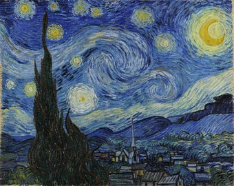 The Starry Night - (Artist: Vincent van Gogh c. 1889) - Masterpiece Classic (Art Print - Multiple Sizes Available)