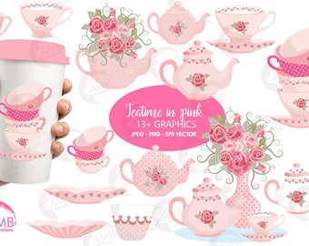 Tea time clipart, Teapot, Tea Party Clipart, Tea pot, tea time, Teatime Pink Roses clipart for scrapbooking, commercial use, AMB-961