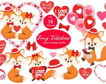 Valentine Clipart, Fox Clipart, Valentine Foxes, Heart Clipart, Valentine graphics, Cute foxes, Commercial Use, AMB-1582