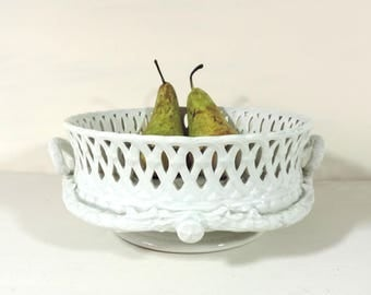 French Vintage Footed Dish/French Vintage Footed Fruit Bowl/White Pedestal Dish/White Kitchen/White Shabby Kitchen