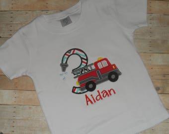 Infant Baby Toddler Boys Custom Applique Firetruck Birthday Shirt  12 month 2T 3T 4T 5T