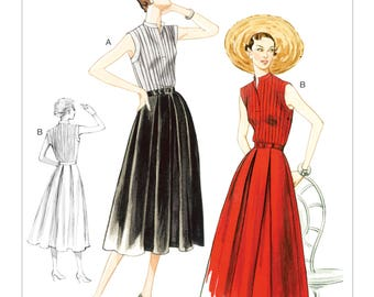 8973, Vogue, 50's Dress,  50's Fashion, Vogue Fashion, 1955 Reissue, Vintage style, Pleated Pullover dress, sleeveless dress, Pintuck, Belt