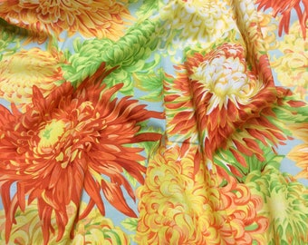 Philip Jacobs Kaffe Fassett Collective Japanese Chrysanthemum PJ41 Yellow Free Spirit Fabric