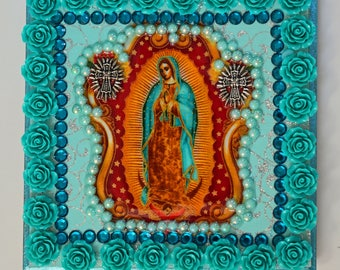 Our Lady Of Guadalupe, Tabletop Frame, Virgen De Guadalupe, Art and Collectables, In Teal, Wooden, Teal Roses, Mixed Media and Collectables
