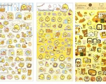 Disney Store Rilakkuma Bear & chick Kiiroitori Kawaii Sticker, Cute Sticker, card decoration, plastic sticker, adorable