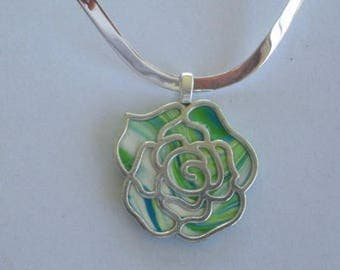 silver neck wire necklace with lime green, aqua, and white rose pendant