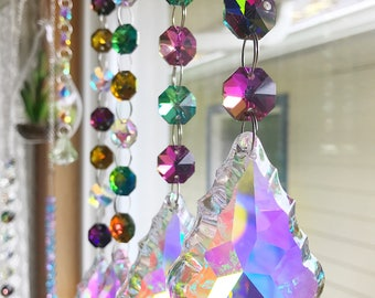 Set of 4 Custom AB Crystal Prism Sun Catchers, You Choose Colors, Chandelier Prisms, Suncatcher, Boho Home Decor, Gypsy, Bohemian, Gift