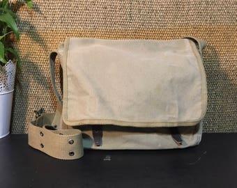 Vintage 1990's Washed Green Beige Canvas Bag / Shoulder Strap Bag / Crossbody Bag