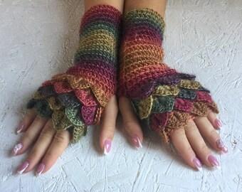 fingerless gloves  crochet gloves Fingerless  women fingerless gloves Dragon Scale women's gloves women's Arm Warmers winter gift Accessory