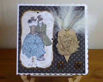 Steampunk Handmade Feather and Flower Large Wedding Day Card