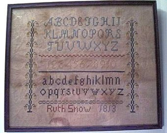 Primitive cross stitch, sampler chart/pattern,primitive needlework, band sampler, schoolgirl sampler, early American, Ruth Snow