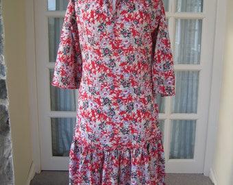 Vintage Laura Ashley Red Floral Dress Size UK 8-10 1970s