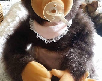 Vintage realistic original plush monkey doll baby girl