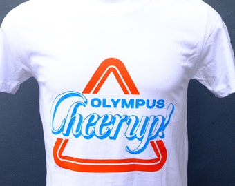 Olympus T-Shirt Cheer up! vintage film camera Shirt, retro Photography  Unisex White Tee, OM system OM1 OM2 Shirt