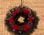 Gothic Wreath, 12 Inches // Halloween Decor, Wall Art // Black Roses // Spiderweb Ribbon // Zombiesque Creations