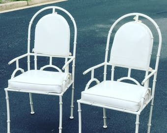 Vintage Shaver-Howard faux bamboo metal chairs - pair ON SALE