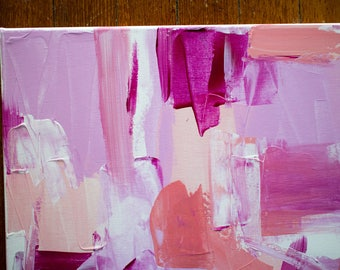Original Abstract Canvas Painting Wall Art and Decor, 16x20, Shades of Pink