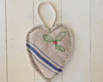 Large Vintage Linen Christmas Heart Holly Decoration