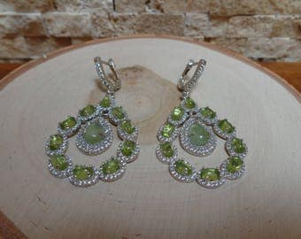 Large Peridot and Prenite earrings in Sterling Silver and pave CZ