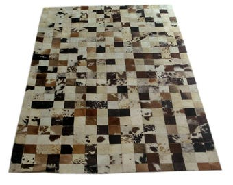 Handmade Cowhide Patchwork Rug - Beautiful Hair On Carpet - Luxurious Rug - R-16