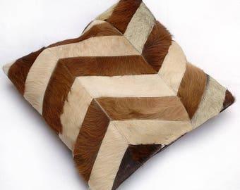 Natural Cowhide Luxurious Patchwork Hairon Cushion/pillow Cover (15''x 15'')a278