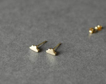 Gold Cloud Stud Earrings - Gold plated over Sterling Silver