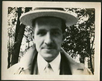 Vintage Photo of Up Close Man Blurry 1910's, Original Found Photo, Vernacular Photography