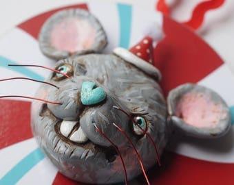 Grey Mouse Bunny Christmas Ornament Christmas folk art ornament