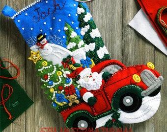 "Bucilla The Christmas Drive ~ 18"" Felt Christmas Stocking Kit #86663 Santa Truck DIY"
