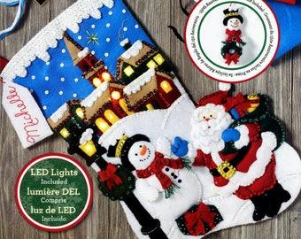 """Bucilla Christmas Village ~ 18"""" Felt Stocking Kit #86818 Real Lights, Santa, Frosty DIY"""