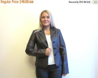 ON SALE Chocolate Brown Leather Jacket Vintage 90's Women's Genuine Leather Trench Coat Medium Size
