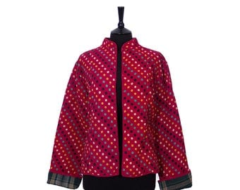 KANTHA JACKET - XX Large - Short style - Size 16/18 - Red with Spots. Reverse Deep Green Plaid.