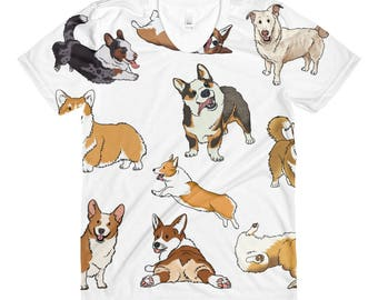 Corgis Everywhere, Sublimation women's, crew neck t-shirt, Funny Dogs, Cartoon Canines, Humor