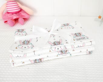 Baby Burp Cloths (Set of 3) - Indian Bunny