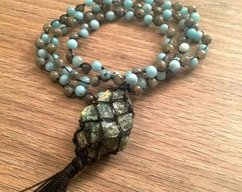 Ocean Jasper Necklace, Amazonite & Labradorite Beaded Necklace, Crystal Necklace, Knotted Mala 108 Beads, Healing Crystals and Stones