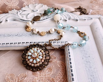 Antique inspired necklace Patina pendant rhinestone crystal Long necklace