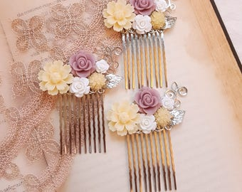 Ivory white lavender pink Silver hair comb Flower girl Bridal Bridesmaid hair comb accessory Shabby chic hair comb