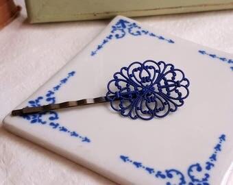 Navy blue bobby pin Patina filigree hair pin Shabby chic Country chic Vintage inspired hair accessory