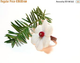 SALES White Pearl Ring, Romantic White Ring, Large Pearl Ring, Adjustable Copper Ring, Woman Gift, Unique Piece, OOAK Ring