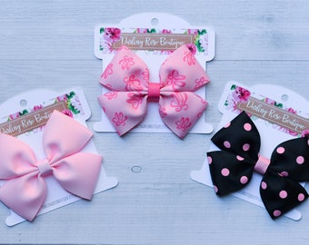 "Ballet dance hair bow set 4"" hair bows - ballet bun clips - black and white polka dot - pink - dance - ballerina - dancer - bows"