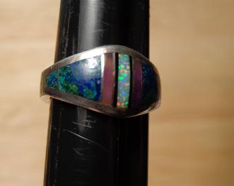 Sterling Silver Inlay Ring by Verdy Jake - size 8