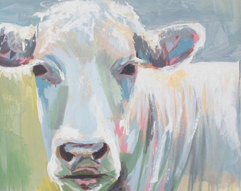 a rustic abstract cow in blue gray and green farmhouse art print